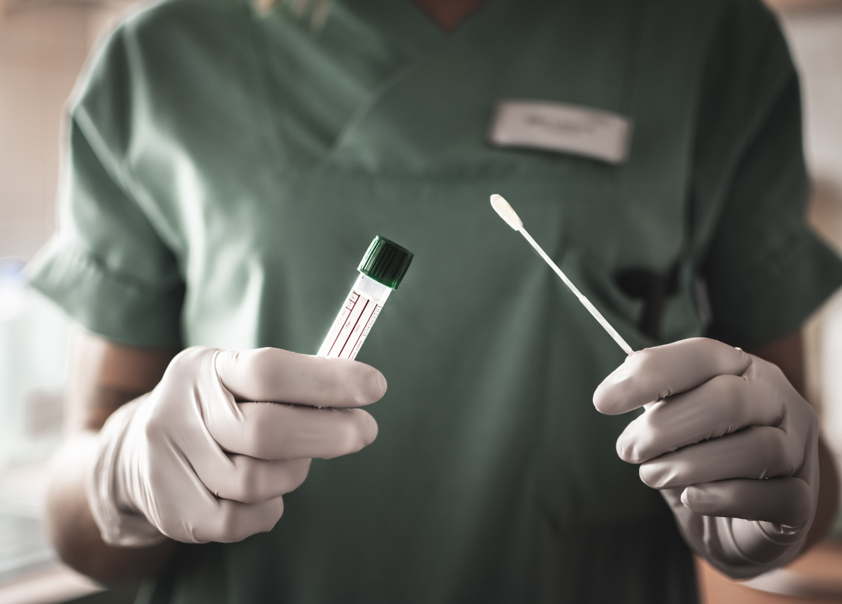nurse committing malpractice with swab and vial.